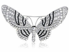 Clear Silver Crystal Rhinestone Encrusted Fairy Butterfly Moth Insect Pin Brooch