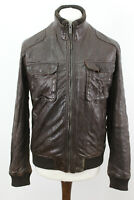MASSIMO DUTTI Brown Leather Jacket size M/38