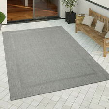 In-& Outdoor Teppich Küchenteppich Einfarbiges Design Sisal Optik Bordüre Grau