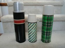 3 Vintage Black With Red  Thermos,Stripped And A Green Plaid Sunflower !!!