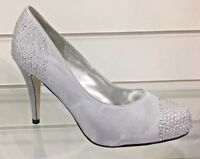 Ladies Silver Crystal Heel Shoes. Womans Fancy Wedding Prom Occasional Footwear