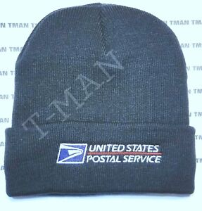 USPS POSTAL DARK NAVY KNIT CUFF BEANIE CAP WITH USPS LOGO EMBROIDERED ON FRONT