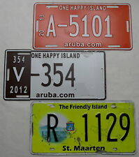 "3  Nummernschilder Aruba ""ONE HAPPY ISLAND+St.Maarten The Friendly Island"".12034"
