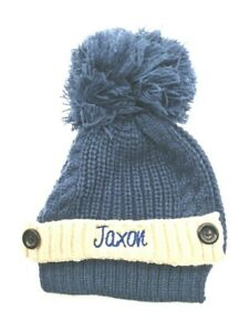 personalised embroidered ribbed cable knit large pom pom  Baby  Boys Hat NEW