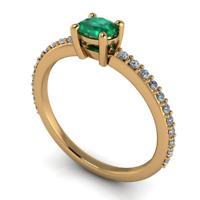 Anello in Oro 18Kt con Diamanti Brillanti e Smeraldo ct. 0,53 F/VS1 - BELLISSIMO