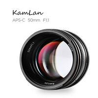 Kamlan 50mm F1.1 APS-C Large Aperture Lens for EOS-M/NEX/Fuji X/M4/3 Mount DH