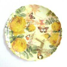 2 Round Plastic Reusable Scalloped 9.5 inch Plates Yellow Rose Butterfly