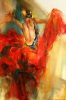 CHOP1078 abstract dancing red dress girl hand painted oil painting art on canvas