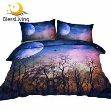 Night Landscape Bedding Set Tree Forest Duvet Cover 3D Galaxy Planet Bedspreads