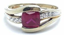 Sterling Silver Gold Tone Pink Tourmaline CZ Pave Wave Swirl Band Cocktail Ring