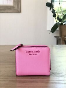 NWT KATE SPADE CAMERON MONOTONE SMALL L ZIP BIFOLD WALLET BRIGHT PEONY