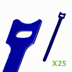 8 Inch Hook and Loop Reusable Strap Cable Cord Wire Ties 25 Pack Blue