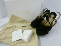 Chloe APOLLO Black Suede Platform Heels Sandals Shoes 36 (CI)