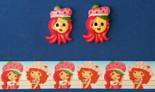 STRAWBERRY SHORTCAKE Hair Bow Supplies Kit - 2 yd Ribbon and 2 Flatback Resins