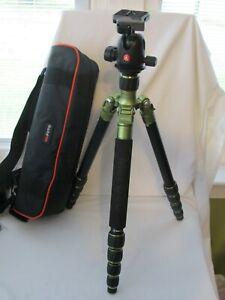 MeFoto Green Aluminum Tripod  A1350 Manfrotto Head 496RC2 Carrying Case Feet Kit