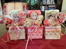 Set of 3 Victorian Clown Porcelain Jack in the box Ornaments Pastel 1980's Pink