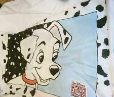 Vtg Disney 101 Dalmatians Fabric Twin Flat Fitted Sheet w Pillow Case Set