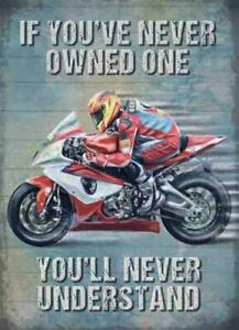 Never Understand Sports Motorbike Motorcycle Racing Medium Metal/Steel Wall Sign