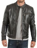 NooraMen's Genuine Lambskin Leather Summer Jacket Slim fit Biker Motorcycle S27