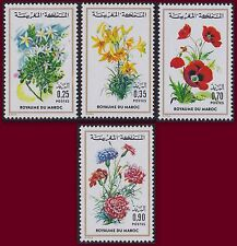 1975 MAROC N°717/720** FLEURS,  Flore Marocaine, 1975 MOROCCO Flowers MNH