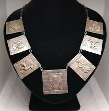 NEW LOWER PRICE !! Signed, Vintage,CM PERU PLATA STERLING SILVER Panel Necklace.
