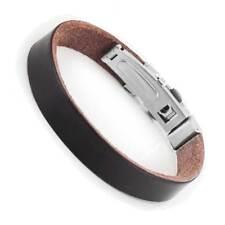 New York Style Genuine Leather Bracelet Cuff Wrist by Urban Jewelry (Brown)