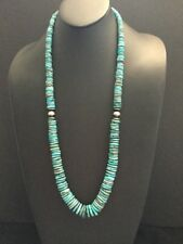 Native American Sterling Silver Graduated Turquoise Bead Necklace. 34 Inch