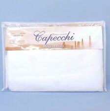 CAPECCHI ITALY White QUEEN SHEET SET Cotton Sateen FLEUR DE LIS Embroidery