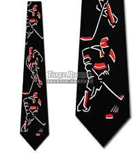 Hockey Tie Sport Neckties Stick Puck Ice Mens Red Neck Tie Brand New