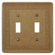 Wall Switch Plate Cover Toggle Double Greek Key Design Stone in Noce Travertine