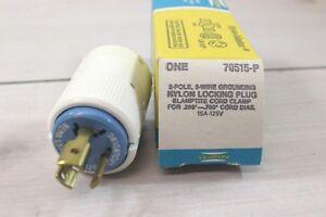 Single 1 Leviton 70515-P 15A 125V Three Prong Twist Lock Male Plug Sockets NEW