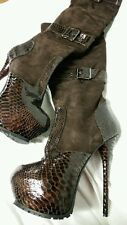 1969 MADE IN ITALY SEXY HIGH HEELS WOMANS BROWN/BLACK LEATHER BOOTS 41, US 10