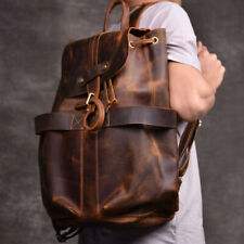 Vintage Men Women Real Cow Leather Book Bag Laptop Backpack Travel Packsack New