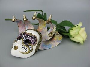 Superb genuine vintage Venetian Wall Carnival Mask made with Marbled Paper Italy