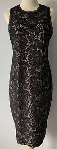Caroline Morgan - Black Lace Overlay Sleeveless Dress - Size 14