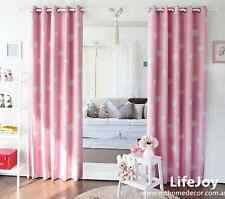 2 X 80% Blockout Eyelet Curtains Pink Drapes Kids Baby Girl's Room 140cm -Pair