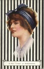 Beautiful Woman FEW LINES Art Deco Series c1910 Postcard #1570