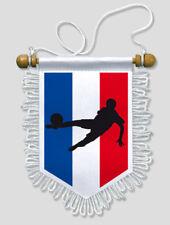 FANION VOITURE FRANCE FOOTBALL TRICOLORE - 13 X 15 CM - BLASON ECUSSON