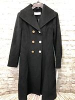 T Tahari Daphne Womens Black Wool Trench Coat Outerwear Size S Small