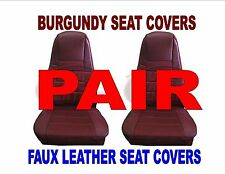 Seat Covers w/Pocket - BURGUNDY Faux Leather (PAIR) PB KW FL - Semi Trucks