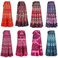 Women Long Hippie Bohemian Gypsy Boho Flowers Elastic Waist Floral Halter Skirts