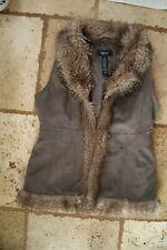 Gray Sueded Long STYLE & CO Lined Vest w/Faux Fur Trim Medium