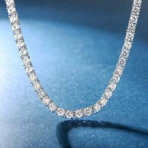 15.00 TCW Round Moissanite Women's Tennis Necklace 18 Inch 925 Sterling Silver