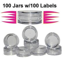 Cosmetic Sample Container Jars 3 gram, 100 Count w/100 Labels $15.99