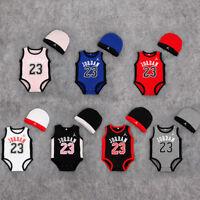 2019 BABY BASEKETBALL JORDAN 23 SUMMER ROMPER +HAT NEWBORN BABY OUTFIT JUMPSUITS