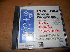 1978 FORD F100 F150 F250 F350 BRONCO ECONOLINE WIRING DIAGRAMS MANUAL ON CD-ROM