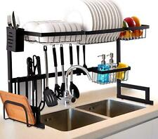 Over The Sink Dish Drying Rack, Large 2 Tier Dish Dryer Rack for Kitchen Shelf