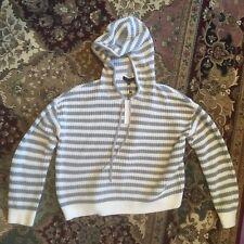 NWT Sanctuary Harlowe Stripe Hoodie M Grey White Drawstring Sweater Pullover Top