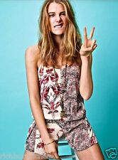 NEW Free People tan nude red black side tie floral Shotall Slouchy Romper M $108