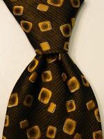 HUGO BOSS Men's Silk Necktie ITALY Luxury Designer Geometric Black/Gold/Gray EUC